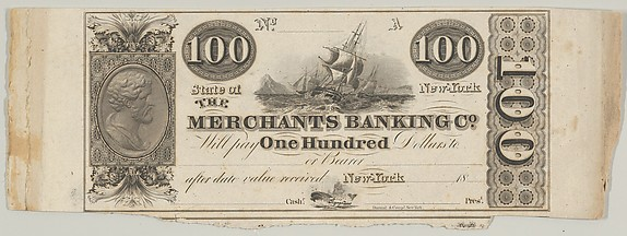 Proof of one side of a New York Merchants Banking Company 100 Dollar Bill