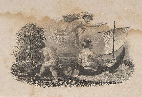 Banknote vignette with three putti symbolizing trade and agriculture