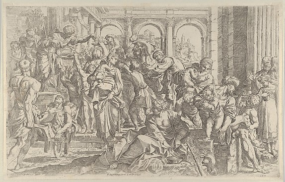 Saint Roch at left distributing alms to a group of people gathered around him, after Annibale Caracci