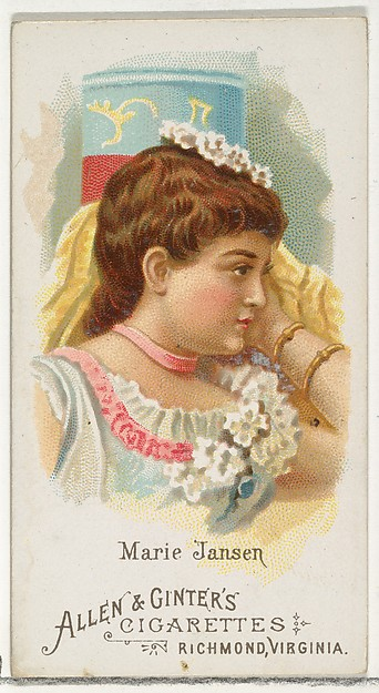 Marie Jansen, from World's Beauties, Series 1 (N26) for Allen & Ginter Cigarettes