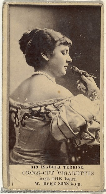 Card Number 319, Isabella Terrise, from the Actors and Actresses series (N145-3) issued by Duke Sons & Co. to promote Cross Cut Cigarettes