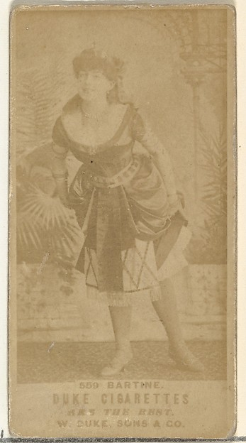 Card Number 559, Miss Bartine, from the Actors and Actresses series (N145-7) issued by Duke Sons & Co. to promote Duke Cigarettes