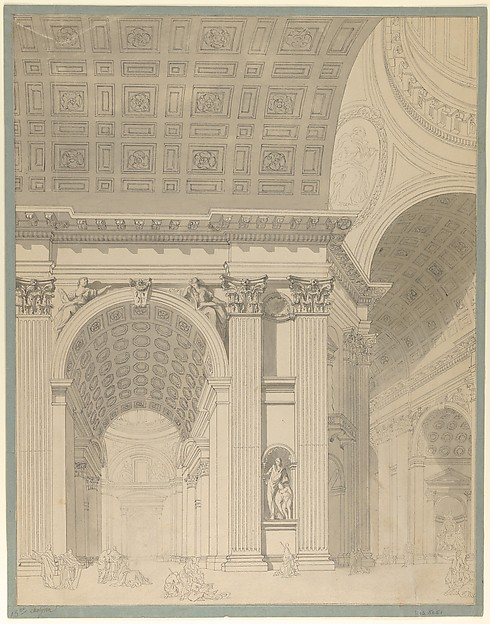 Fascinating Historical Picture of Jean Franois Chalgrin with Interior of St. Peters Basilica in 1759