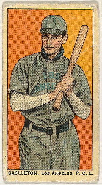 """Caslleton, Los Angeles, Pacific Coast League, from the """"Obak Baseball Players"""" set (T212), issued by the American Tobacco Company to promote Obak Mouthpiece Cigarettes"""