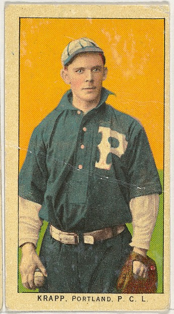 """Krapp, Portland, Pacific Coast League, from the """"Obak Baseball Players"""" set (T212), issued by the American Tobacco Company to promote Obak Mouthpiece Cigarettes"""