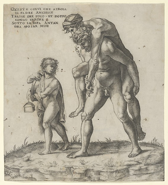 Aeneas rescuing Anchises with a young boy carrying a lantern at left