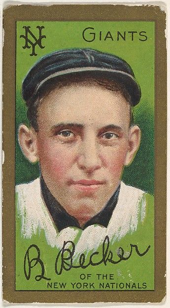 "Beals Becker, New York Giants, National League, from the ""Baseball Series"" (Gold Borders) set (T205) issued by the American Tobacco Company"