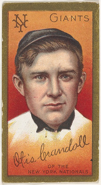 """Otis Crandall, New York Giants, National League, from the """"Baseball Series"""" (Gold Borders) set (T205) issued by the American Tobacco Company"""