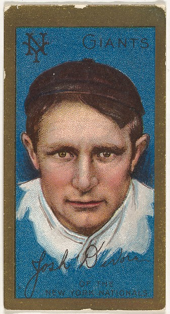 "Joshua Devore, New York Giants, National League, from the ""Baseball Series"" (Gold Borders) set (T205) issued by the American Tobacco Company"