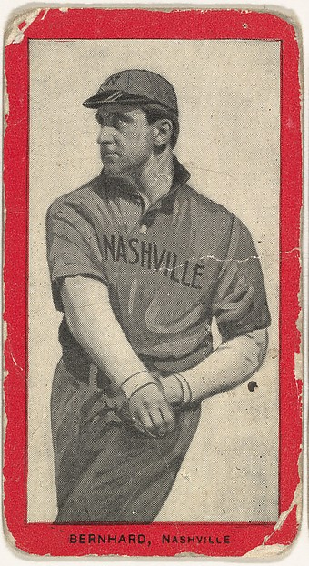 Bernhard, Nashville, Southern Association, from the Baseball Players (Red Borders) series (T210) issued by Old Mill Cigarettes