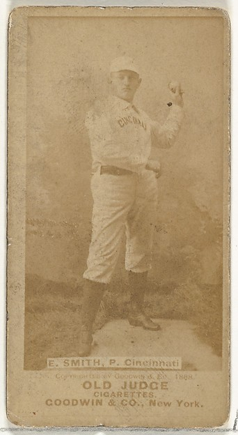 "Elmer Ellsworth ""Mike"" Smith, Pitcher, Cincinnati, from the Old Judge series (N172) for Old Judge Cigarettes"