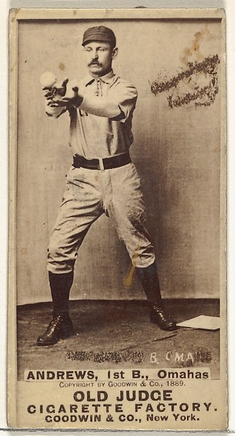 """William Walter """"Wally"""" Andrews, 1st Base, Omaha Omahogs/Lambs, from the Old Judge series (N172) for Old Judge Cigarettes"""