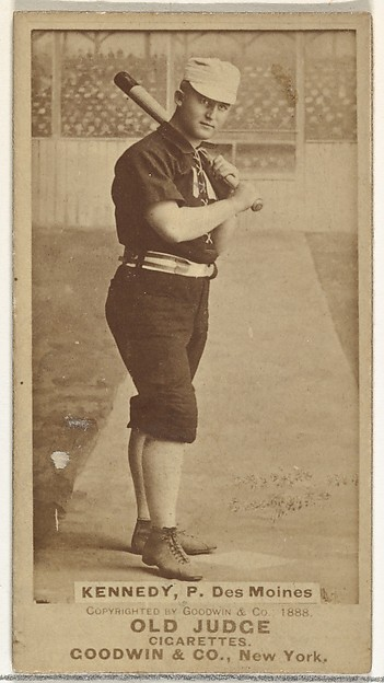 """Theodore A. """"Ted"""" Kennedy, Pitcher, Des Moines Prohibitionists, from the Old Judge series (N172) for Old Judge Cigarettes"""