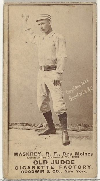 Samuel Leech Maskrey, Right Field, Des Moines Prohibitionists, from the Old Judge series (N172) for Old Judge Cigarettes