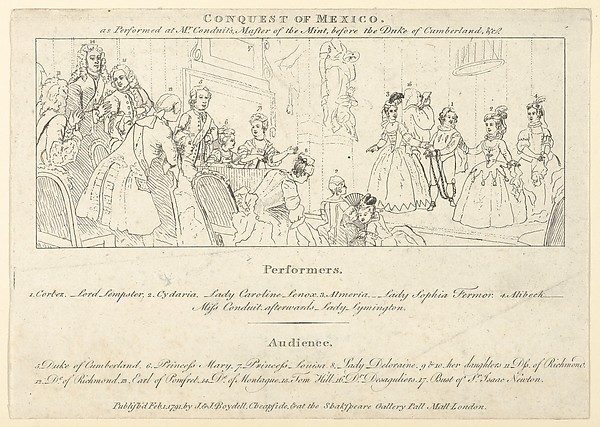 Key with List of Performers to: The Indian Emperor, or, The Conquest of Mexico, Act 4, scene 4