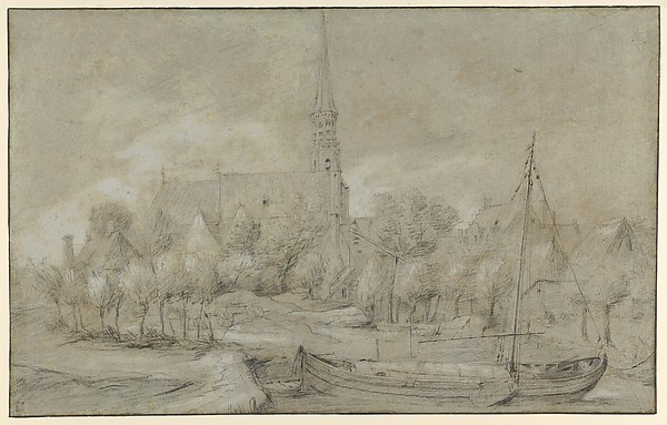 The Church of Saints Peter and Paul in Schelle, near Antwerp, seen from the North, with a Boat in the river Vliet