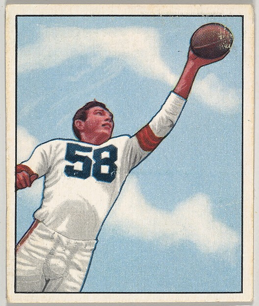 Card Number 8, Mac Speedie, End, Cleveland Browns, from the Bowman Football series (R407-2) issued by Bowman Gum