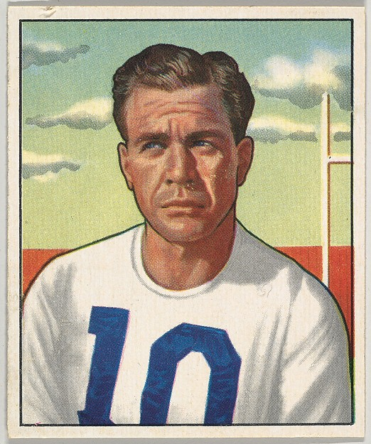 Card Number 12, Joe Golding, Halfback, New York Yanks, from the Bowman Football series (R407-2) issued by Bowman Gum