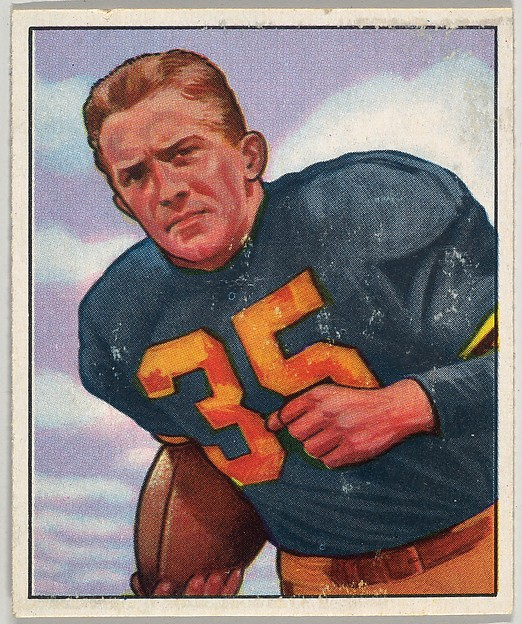 Card Number 19, Joe Geri, Left Halfback, Pittsburgh Steelers, from the Bowman Football series (R407-2) issued by Bowman Gum