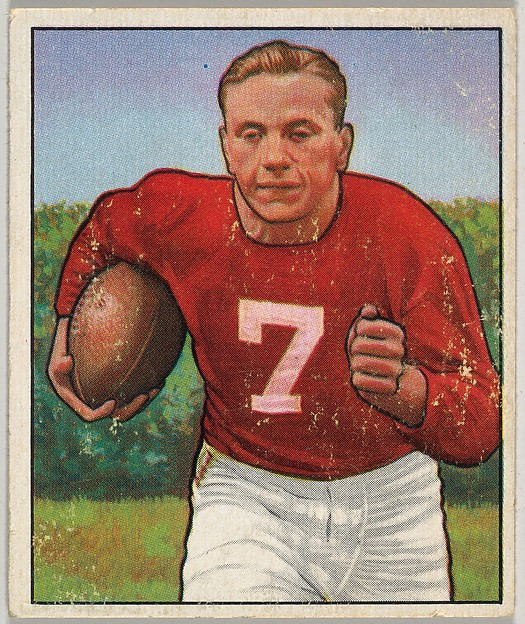Card Number 21, Elmer Angsman, Right Halfback, Chicago Cardinals, from the Bowman Football series (R407-2) issued by Bowman Gum