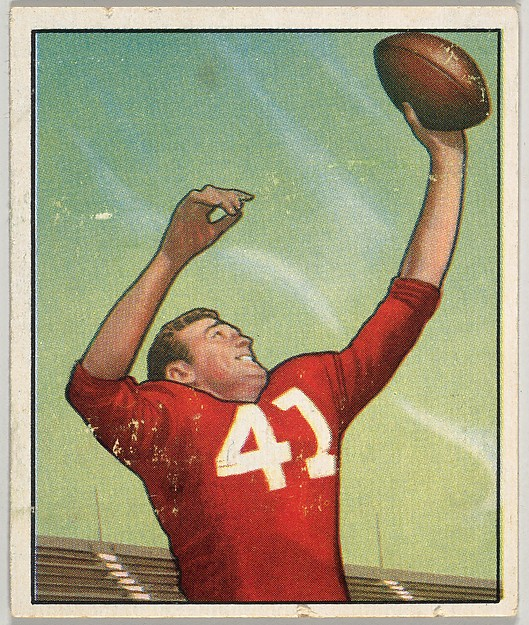 Card Number 22, Bill Dewell, Left End, Chicago Cardinals, from the Bowman Football series (R407-2) issued by Bowman Gum
