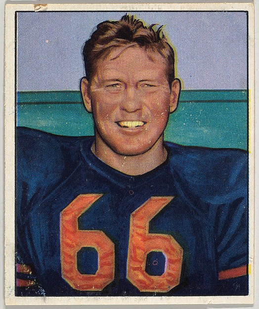 Card Number 28, Clyde Turner, Center, Chicago Bears, from the Bowman Football series (R407-2) issued by Bowman Gum