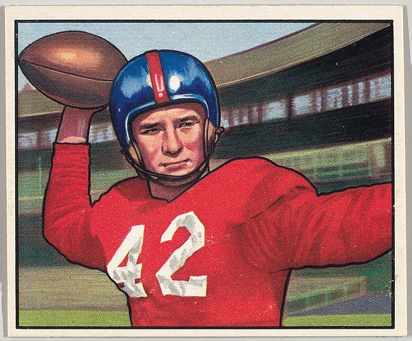 Card Number 103, Charley Conerly, Quarterback, New York Giants, from the Bowman Football series (R407-2) issued by Bowman Gum