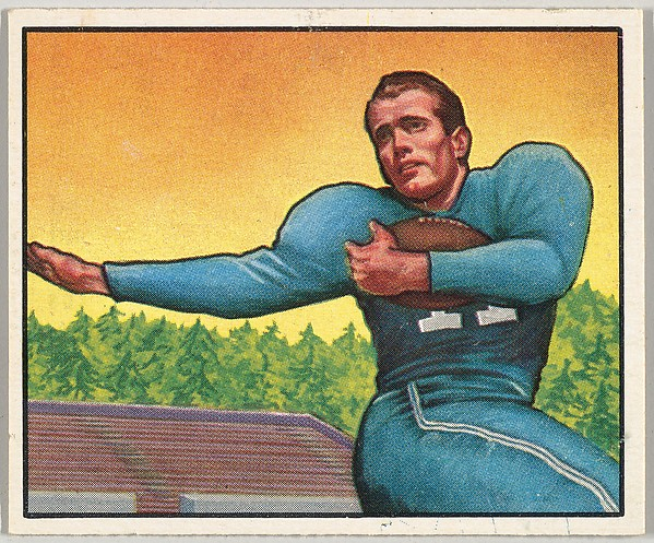 Card Number 111, Cloyce Box, Halfback, Detroit Lions, from the Bowman Football series (R407-2) issued by Bowman Gum
