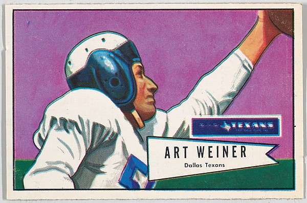 Art Weiner, Dallas Texans, from the Bowman Football series (R407-4) issued by Bowman Gum