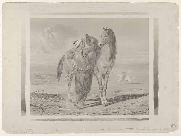 A Turk Saddling His Horse