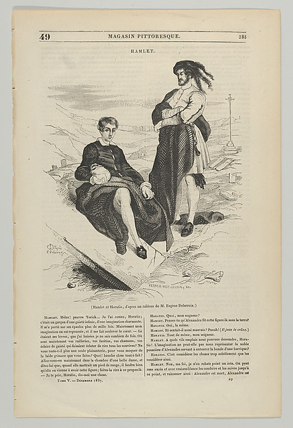Fascinating Historical Picture of Eugne Delacroix with Wood engraving after painting by Delacroix of Hamlet and Horatio on 12/15/1837