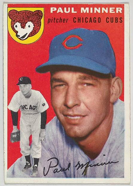 """Card Number 28, Paul Minner, Pitcher, Chicago Cubs, from """"1954 Topps Regular Issue"""" series (R414-8), issued by Topps Chewing Gum Company."""