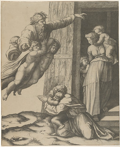 God carried by angels, appearing to Noah and his family, after the Flood