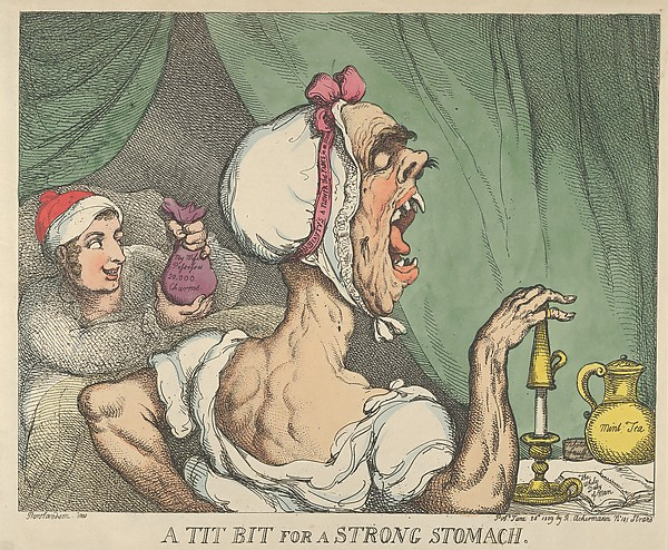 Fascinating Historical Picture of Thomas Rowlandson with A Tit Bit for a Strong Stomach on 6/20/1809
