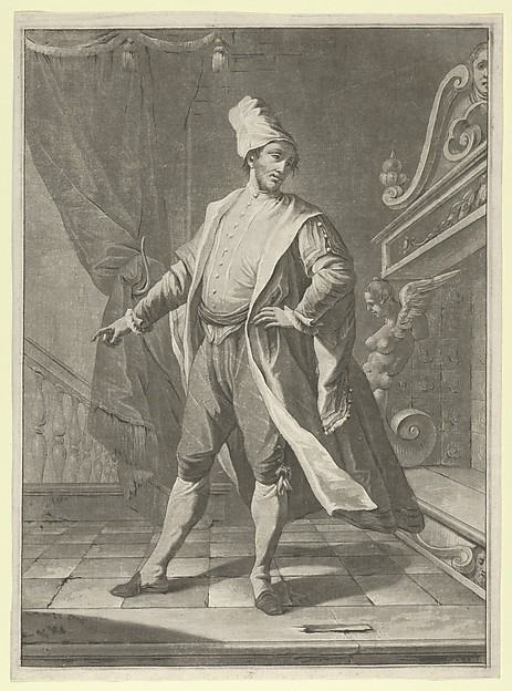 Man in Venetian costume standing before a large fireplace, right arm outstretched