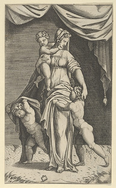 Charity personified by  a woman with three children