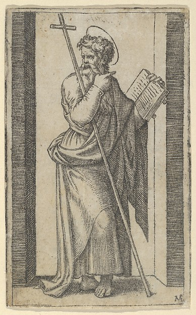 Saint Philip, book in his left hand, staff resting on his left arm, from the series 'Piccoli Santi' (Small Saints)