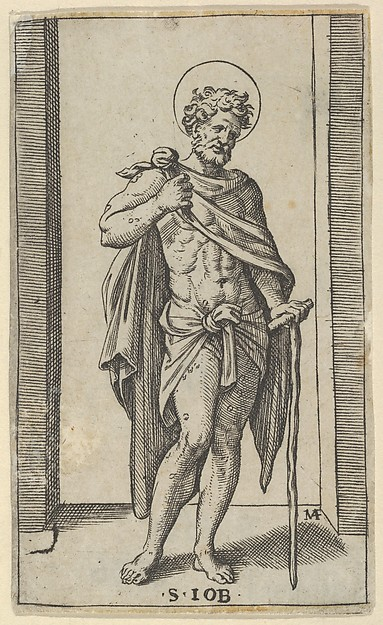 Saint Job, wearing a cloak, from the series 'Piccoli Santi' (Small Saints)