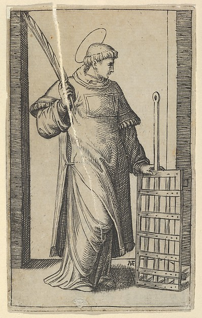 Saint Lawrence, left hand resting on a grill, from the series 'Piccoli Santi' (Small Saints)