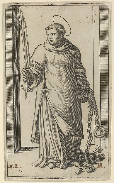 St Leonard standing holding a palm in his right hand and chains in his left, from the series 'Piccoli Santi' (Small Saints)