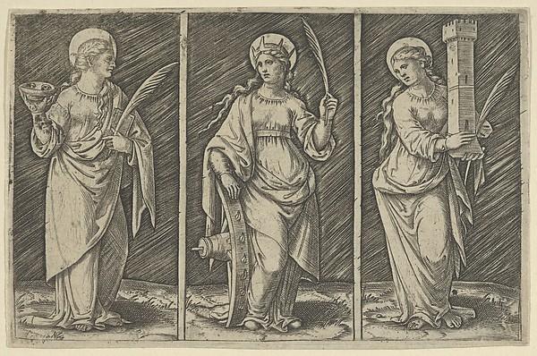 Saint Barbara (left), Saint Catherine, (center), Saint Lucy (right)