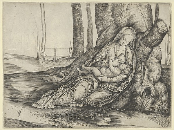 The Madonna nursing the Christ Child at the foot of a tree