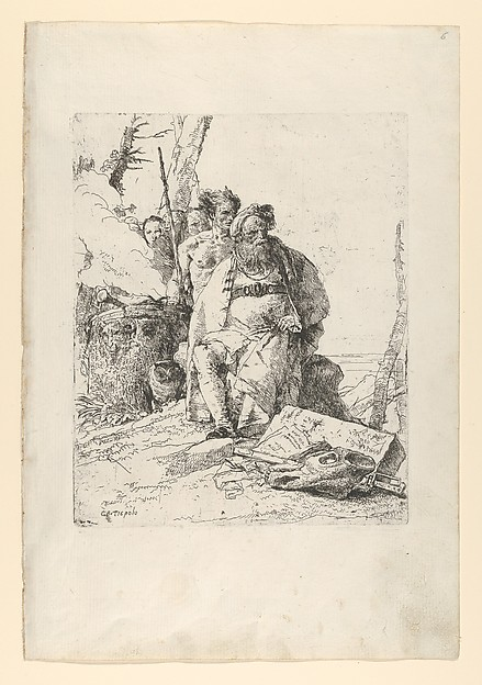 Fascinating Historical Picture of Giovanni Battista Tiepolo with Magician with four Figures near a smoking Altar from the Scherzi in 1743