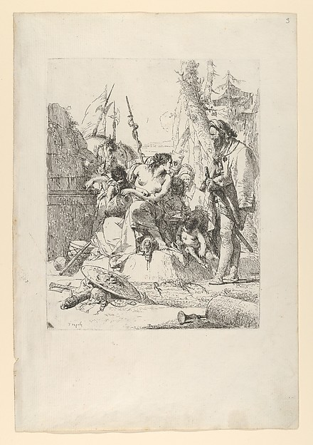 Fascinating Historical Picture of Giovanni Battista Tiepolo with Half-dressed Nymph with two children surrounded by four men from the Scherzi in 1743