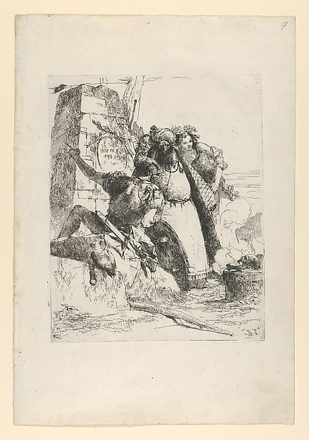 Fascinating Historical Picture of Giovanni Battista Tiepolo with A magician a soldier and three figures watching a burning skull from the Scherzi di Fantasia in 1743