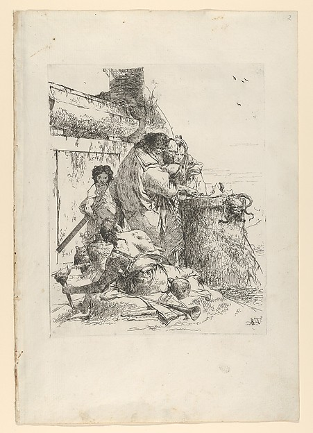 Fascinating Historical Picture of Giovanni Battista Tiepolo with Three magicians burning a snake from the Scherzi in 1743