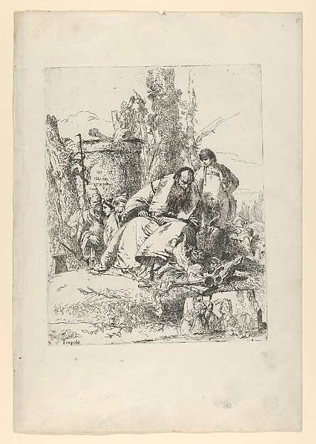 Fascinating Historical Picture of Giovanni Battista Tiepolo with Seated magician boy and four figures from the Scherzi di Fantasia in 1743