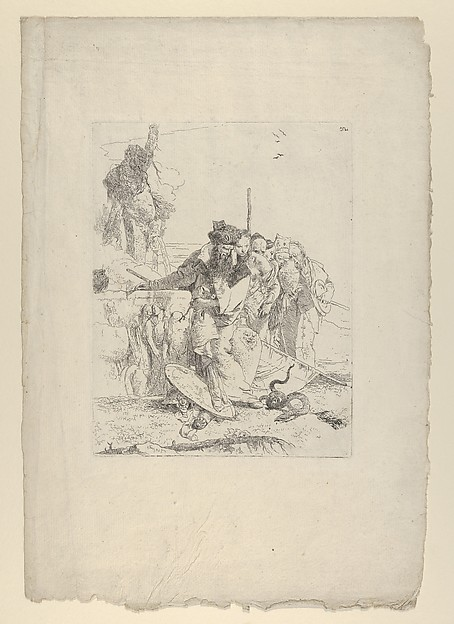 This is What Giovanni Battista Tiepolo and Six people watching a snake from the Scherzi Looked Like  in 1743