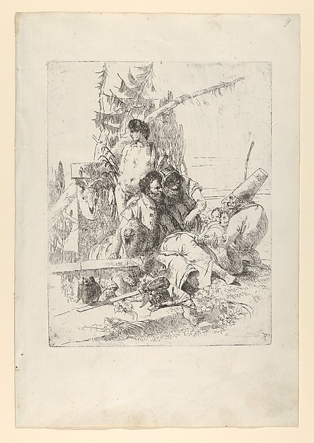 Fascinating Historical Picture of Giovanni Battista Tiepolo with Two Figures Attentive to Punchinello with Others from the Scherzi in 1743