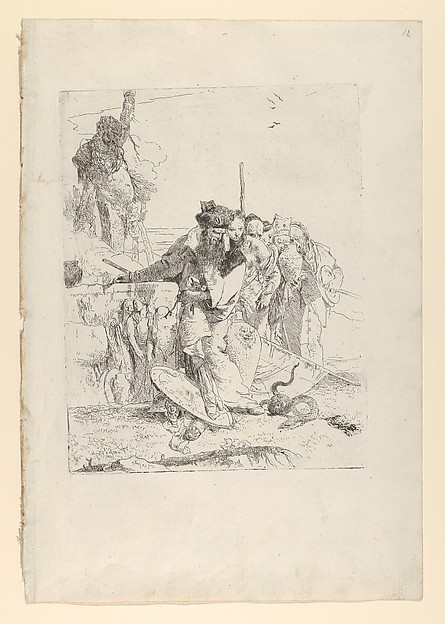 Fascinating Historical Picture of Giovanni Battista Tiepolo with Six people watching a snake from the Scherzi in 1743